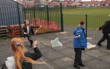 Year 2 have fun making recycled kites