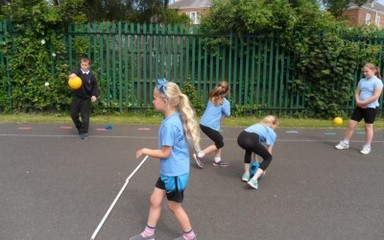 Year 5 and Year 2 have a fun Sports Morning