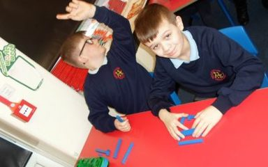 Year 5 use 'Concrete' Maths to learn about fractions and decimals.