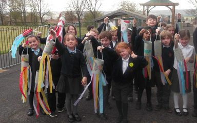 Making windsocks in Year 2
