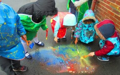 Puddle Painting in Reception