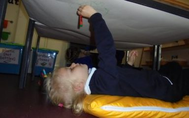 Topsy Turvy Mark Making in Nursery
