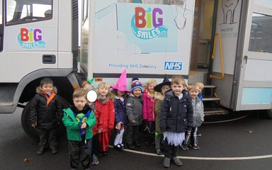 Nursery visit the dentist bus