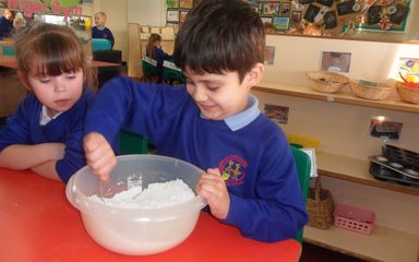 Making Dough in Reception