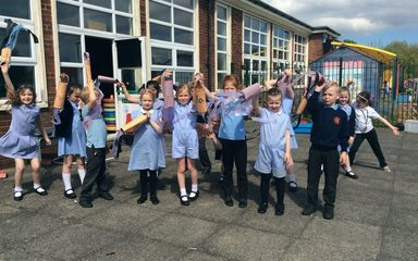 Year 2 make their own windsocks.