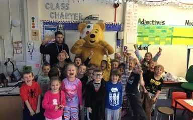 Pudsey Bear drops in on Y2KR.