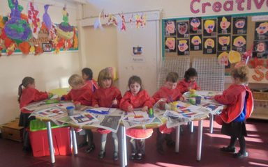 Mondrian Inspired Artwork in Reception