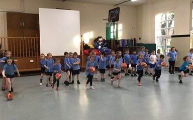 Y2KR shoot hoops with Coach C